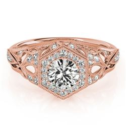 0.90 CTW Certified VS/SI Diamond Solitaire Halo Ring 18K Rose Gold - REF-145X5T - 26863