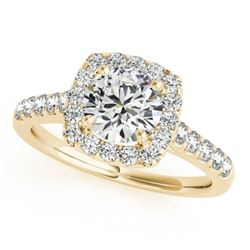 1.35 CTW Certified VS/SI Diamond Solitaire Halo Ring 18K Yellow Gold - REF-220K2R - 26262