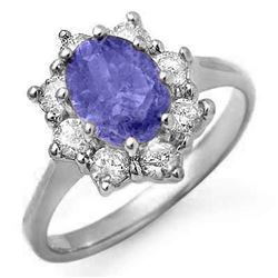 2.75 CTW Tanzanite & Diamond Ring 18K White Gold - REF-97X6T - 13424