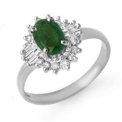 1.25 CTW Emerald & Diamond Ring 18K White Gold - REF-52T2X - 13299