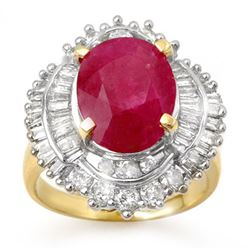6.15 CTW Ruby & Diamond Ring 14K Yellow Gold - REF-158F5M - 13129