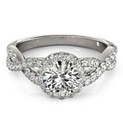 1.54 CTW Certified VS/SI Diamond Solitaire Halo Ring 18K White Gold - REF-385K8R - 26557