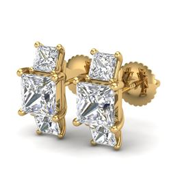3.08 CTW Princess VS/SI Diamond Art Deco Stud Earrings 18K Yellow Gold - REF-668K2R - 37201