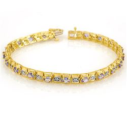 3.14 CTW Tanzanite & Diamond Bracelet 10K Yellow Gold - REF-89W3H - 10398