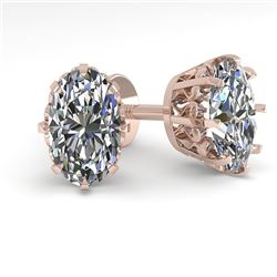 1.0 CTW VS/SI Oval Cut Diamond Stud Solitaire Earrings 18K Rose Gold - REF-156W4H - 35669