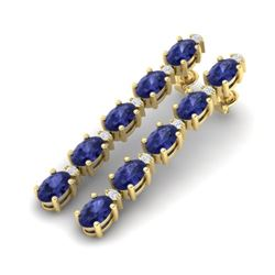 15.47 CTW Tanzanite & VS/SI Certified Diamond Tennis Earrings 10K Yellow Gold - REF-189W3H - 29493