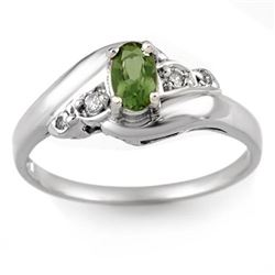 0.42 CTW Green Tourmaline & Diamond Ring 18K White Gold - REF-36W2H - 10869