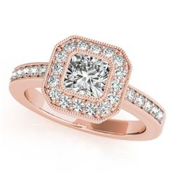 0.80 CTW Certified VS/SI Cushion Diamond Solitaire Halo Ring 18K Rose Gold - REF-161X3T - 27175
