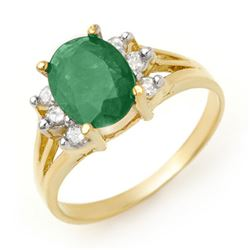 2.03 CTW Emerald & Diamond Ring 14K Yellow Gold - REF-45T5X - 13567