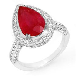 6.25 CTW Ruby & Diamond Ring 18K White Gold - REF-134X4T - 10693