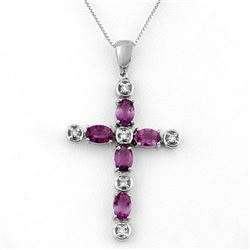 2.15 CTW Amethyst & Diamond Necklace 10K White Gold - REF-33Y6N - 10959