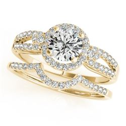 1.36 CTW Certified VS/SI Diamond 2Pc Wedding Set Solitaire Halo 14K Yellow Gold - REF-370W8H - 31183