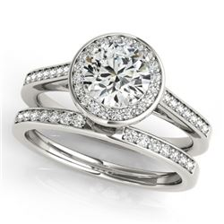 0.86 CTW Certified VS/SI Diamond 2Pc Wedding Set Solitaire Halo 14K White Gold - REF-135T6X - 30804