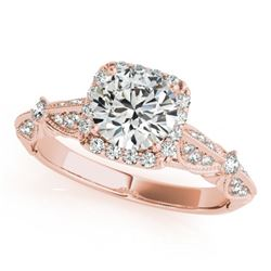1.36 CTW Certified VS/SI Diamond Solitaire Halo Ring 18K Rose Gold - REF-388T4X - 26528