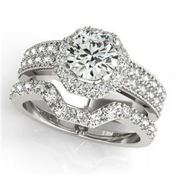 1.69 CTW Certified VS/SI Diamond 2Pc Wedding Set Solitaire Halo 14K White Gold - REF-409K5R - 31325