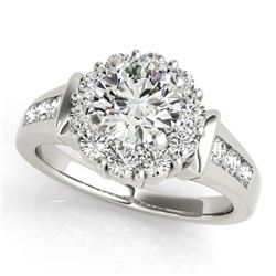 1.35 CTW Certified VS/SI Diamond Solitaire Halo Ring 18K White Gold - REF-173F8M - 26928