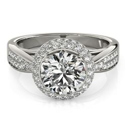 2.15 CTW Certified VS/SI Diamond Solitaire Halo Ring 18K White Gold - REF-604F8M - 27009
