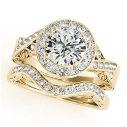 1.89 CTW Certified VS/SI Diamond 2Pc Wedding Set Solitaire Halo 14K Yellow Gold - REF-588T2X - 31309