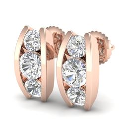 2.18 CTW VS/SI Diamond Solitaire Art Deco Stud Earrings 18K Rose Gold - REF-300K2R - 37011