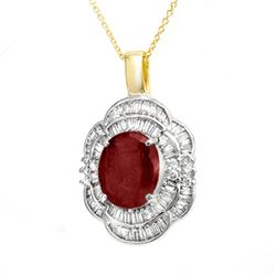 6.0 CTW Ruby & Diamond Pendant 14K Yellow Gold - REF-138X2T - 14268