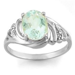 2.04 CTW Aquamarine & Diamond Ring 18K White Gold - REF-46M8F - 11553