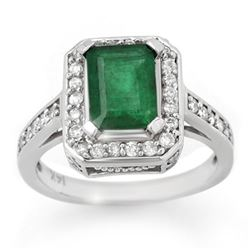 2.0 CTW Emerald & Diamond Ring 14K White Gold - REF-62R9K - 10712