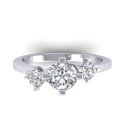 1.25 CTW Certified VS/SI Diamond Solitaire 3 Stone Ring 14K White Gold - REF-201R3K - 30405