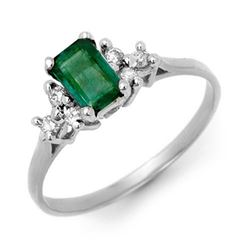 0.74 CTW Emerald & Diamond Ring 18K White Gold - REF-27H6W - 13763