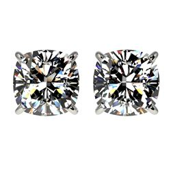 2 CTW Certified VS/SI Quality Cushion Cut Diamond Stud Earrings 10K White Gold - REF-552M2F - 33097