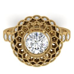 1.5 CTW Certified VS/SI Diamond Art Deco Ring 14K Yellow Gold - REF-382R4K - 30554