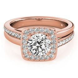 1.33 CTW Certified VS/SI Diamond Solitaire Halo Ring 18K Rose Gold - REF-395M5F - 26842