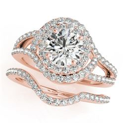 1.92 CTW Certified VS/SI Diamond 2Pc Wedding Set Solitaire Halo 14K Rose Gold - REF-256Y2N - 31263