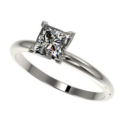 1 CTW Certified VS/SI Quality Princess Diamond Engagement Ring 10K White Gold - REF-297F2M - 32897