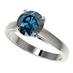 2 CTW Certified Intense Blue SI Diamond Solitaire Engagement Ring 10K White Gold - REF-417R6K - 3303
