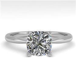 1 CTW Cushion Cut VS/SI Diamond Engagement Designer Ring 18K White Gold - REF-282F2M - 32424
