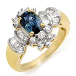 2.25 CTW Blue Sapphire & Diamond Ring 14K Yellow Gold - REF-71W5H - 10574