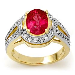 3.50 CTW Pink Sapphire & Diamond Ring 10K Yellow Gold - REF-64F5M - 13510