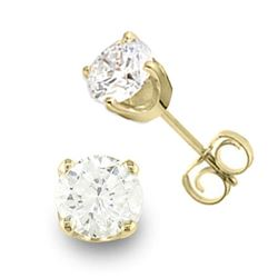 0.90 CTW Certified VS/SI Diamond Solitaire Stud Earrings 14K Yellow Gold - REF-131T8X - 13039