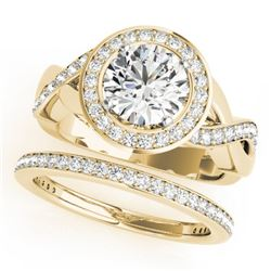 1.84 CTW Certified VS/SI Diamond 2Pc Wedding Set Solitaire Halo 14K Yellow Gold - REF-258T2X - 30641