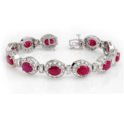 16.0 CTW Ruby & Diamond Bracelet 14K White Gold - REF-400H2W - 13903