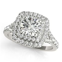 1.04 CTW Certified VS/SI Diamond Solitaire Halo Ring 18K White Gold - REF-134R9K - 26230