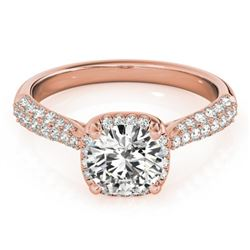 1.5 CTW Certified VS/SI Diamond Solitaire Halo Ring 18K Rose Gold - REF-389F5M - 26168