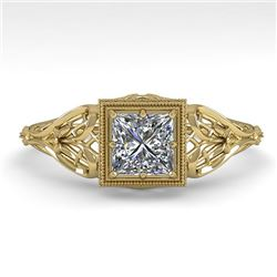 0.50 CTW VS/SI Princess Diamond Solitaire Engagement Ring Deco 18K Yellow Gold - REF-113F8M - 36025