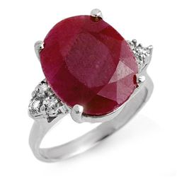 8.83 CTW Ruby & Diamond Ring 18K White Gold - REF-112R8K - 13741