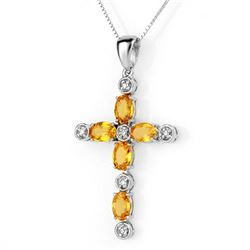 3.65 CTW Yellow Sapphire & Diamond Necklace 10K White Gold - REF-37K5R - 10598
