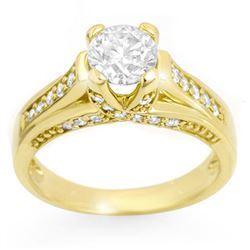 1.25 CTW Certified VS/SI Diamond Ring 14K Yellow Gold - REF-186N4Y - 11599