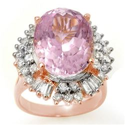 15.75 CTW Kunzite & Diamond Ring 14K Rose Gold - REF-246R4K - 10599