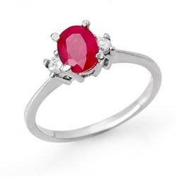 1.36 CTW Ruby & Diamond Ring 18K White Gold - REF-41H8W - 12528