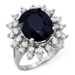 9.85 CTW Blue Sapphire & Diamond Ring 18K White Gold - REF-133K8R - 12832