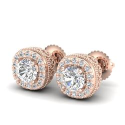 1.69 CTW VS/SI Diamond Solitaire Art Deco Stud Earrings 18K Rose Gold - REF-263K6R - 37119